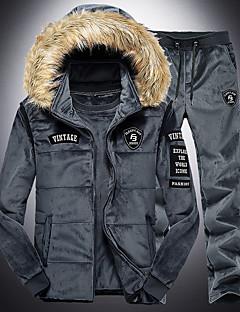 baratos Abrigos e Moletons Masculinos-hoodie de manga comprida para homem - geométrico / sólido com capuz