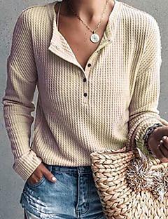 baratos Suéteres de Mulher-Mulheres Diário Básico Sólido Manga Longa Padrão Pulôver, Decote Redondo Cinzento / Roxo / Amarelo L / XL / XXL