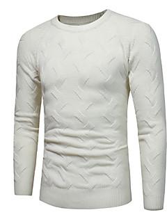 baratos Suéteres & Cardigans Masculinos-pullover de algodão de manga longa masculina - colorido sólido