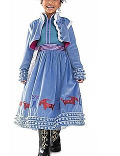billige Halloweenkostymer-Frozen Kjoler Party-kostyme Flapper Dress Julkjole Jente Barne Prinsesse Lolita Halloween Jul Halloween Barnas Dag Festival / høytid Drakter Blå Lapper