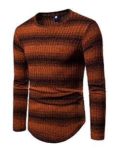 baratos Suéteres & Cardigans Masculinos-Homens Moda de Rua Pulôver - Listrado / Estampa Colorida