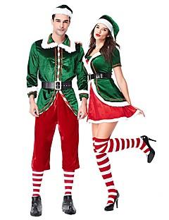 billige julen Kostymer-Nisse drakter Herre Voksne Halloween Jul Jul Halloween Karneval Festival / høytid Drakter Grønn Ensfarget Jul
