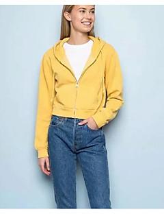 baratos Moletons com Capuz e Sem Capuz Femininos-hoodie de manga comprida para mulher - capuz de cor sólida
