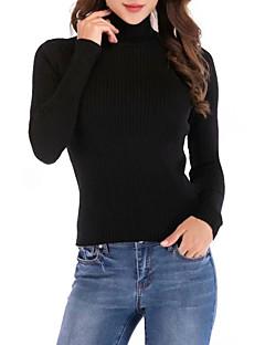 tanie Swetry damskie-Damskie Codzienny Solidne kolory Długi rękaw Szczupła Regularny Pulower Bawełna Czarny Jeden rozmiar