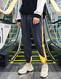 billige Herrebukser-Herre Plusstørrelser Bomuld Løstsiddende Chinos / Joggingbukser Bukser - Stribet / Bogstaver Sort / Sport / Weekend