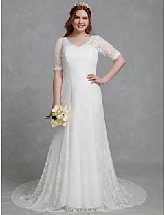 billiga Brudklänningar-Åtsmitande V-hals Hovsläp Spets Bröllopsklänningar tillverkade med Spets av LAN TING BRIDE®