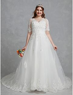 billiga Plusstorlek brudklänningar-A-linje V-hals Hovsläp Spets / Tyll Bröllopsklänningar tillverkade med Kristalldetaljer / Spets av LAN TING BRIDE® / Vacker i svart