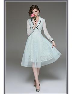 baratos Vestidos de Formatura-Linha A Decote em V-wire Longuette Renda Coquetel Vestido com Aplicação de renda de LAN TING Express