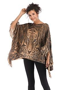 tanie Swetry damskie-Damskie Codzienny Zwierzę Rękaw 1/2 Regularny Peleryny, Z odsłoniętymi ramionami Żółtobrązowy Jeden rozmiar