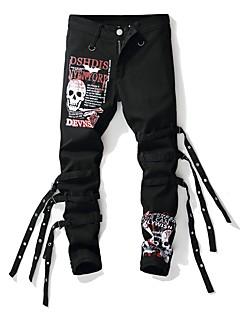 billige Herrebukser og -shorts-Herre Gatemote / Punk & Gotisk Bomull Tynn Jeans Bukser - Fargeblokk / Bokstaver Svart & Rød / Svart og hvit, Trykt mønster Svart / Klubb