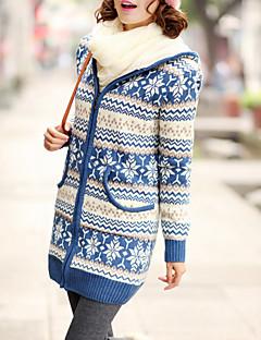 tanie Swetry damskie-Damskie Codzienny Geometric Shape Długi rękaw Długie Sweter rozpinany, Kaptur Niebieski / Czarny / Czerwony Jeden rozmiar