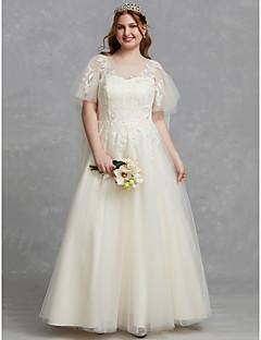 billiga Plusstorlek brudklänningar-A-linje Scoop Neck Golvlång Spets / Tyll Bröllopsklänningar tillverkade med Applikationsbroderi / Spets av LAN TING BRIDE® / Vacker i svart