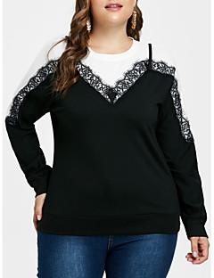 billige Plusstørrelser-Dame - Ensfarvet Basale Skjorte