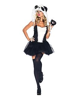 billige Halloweenkostymer-Dyremønster Nisse drakter Hatter Kostume Dame Voksne Halloween Jul Jul Halloween Karneval Festival / høytid Terylene Polyester Drakter Svart Panda
