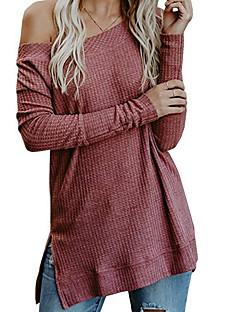 tanie Swetry damskie-Damskie Codzienny Podstawowy Solidne kolory Długi rękaw Szczupła Długie Pulower, Na jedno ramię Czarny / Czerwony / Szary L / XL / XXL