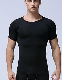 billige Løbetøj-Herre Rund hals Løbe-T-shirt / Grundlag - Hvid, Sort, Lysegrå Sport Helfarve T-Shirt Løb, Fitness, Træningscenter Kortærmet Sportstøj Letvægt, Åndbart, Hurtigtørrende Elastisk