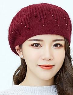 billige Hatter til damer-Dame Grunnleggende Beanie Hatt / Beret / Solhatt Ensfarget