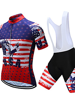 fbbcd7ff5 TELEYI Men s Short Sleeve Cycling Jersey with Bib Shorts - White Black  National Flag Bike Clothing Suit Quick Dry Sports National Flag Mountain  Bike MTB ...