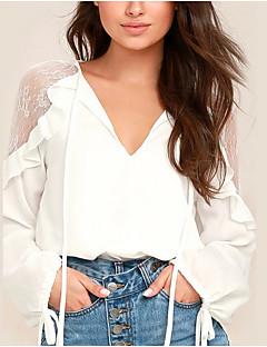 billige Bluse-Dame - Ensfarvet Lace Trim Basale Bluse