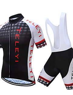 34dd0f650 TELEYI Men s Short Sleeve Cycling Jersey with Bib Shorts - White Black  Plaid   Checkered Bike Clothing Suit Quick Dry Sports Polyester Plaid    Checkered ...