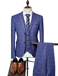 cheap Suit-Men's Party / Work Business Spring &  Fall Regular Suits, Plaid Peter Pan Collar Long Sleeve Blue / Black / Royal Blue XL / XXL / XXXL / Business Formal / Slim