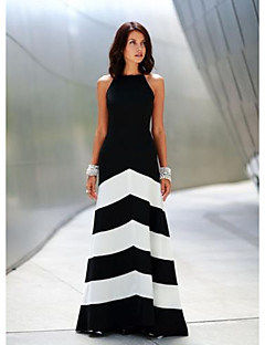 baratos Vestidos de Festa-Mulheres Básico balanço Vestido Listrado Longo