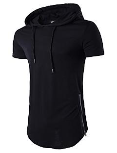 billiga Herröverdelar-Enfärgad T-shirt - Aktiv Herr Huva Smal / Kortärmad