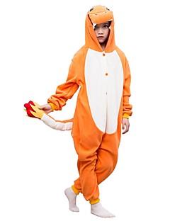 billige Kigurumi-Dinosaur Onesie-pysjamas Polar Fleece Oransje Cosplay Til Gutter og jenter Pysjamas med dyremotiv Tegnefilm Festival / høytid kostymer