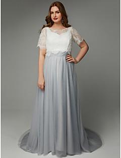 billiga Aftonklänningar-A-linje Prydd med juveler Svepsläp Spets / Tyll Formell kväll Klänning med Spets / Bälte / band av TS Couture®
