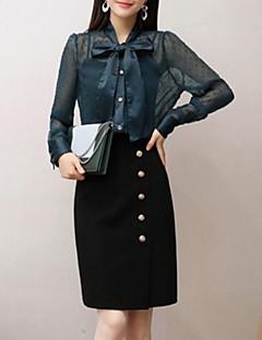 billige Bluse-kvinders sæt - solid farvet v-hals