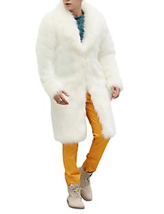 abordables Vestes & Manteaux pour Homme-Homme Fin de semaine Hiver Longue Manteau, Couleur Pleine Col châle Manches Longues Fausse Fourrure Blanc / Noir / Marron XL / XXL / XXXL / Ample