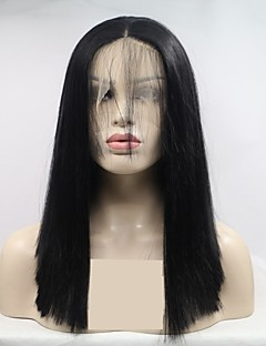 cheap New Arrivals-Synthetic Lace Front Wig Women's kinky Straight Black Layered Haircut 130% Density Synthetic Hair 16 inch Women Black Wig Short Lace Front Natural Black Sylvia