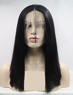 ราคาถูก New Arrivals-วิกผมสังเคราะห์ลูกไม้ด้านหน้า สำหรับผู้หญิง ผมหยิกตรง ดำ ตัดผมหลายชั้น 130% ความหนาแน่นของผมมนุษย์ สังเคราะห์ 16 inch ผู้หญิง ดำ วิก Short มีลูกไม้ด้านหน้า Black Sylvia
