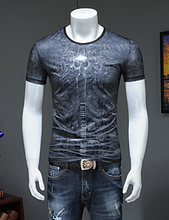 cheap Men's Tops-Men's Street chic / Punk & Gothic T-shirt - Color Block / Skull / Letter Print