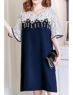 baratos Vestidos-Mulheres Básico Bainha Vestido - Renda / Patchwork, Geométrica / Estampa Colorida Altura dos Joelhos