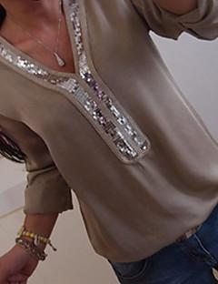 זול עליוניות וסטים לנשים-גיאומטרי צווארון V בסיסי מידות גדולות חולצה - בגדי ריקוד נשים פאייטים / מונח בצורה רפויה / אביב / קיץ / סתיו