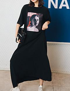 baratos Vestidos-Mulheres Moda de Rua Bainha Vestido Sólido / Geométrica Longo