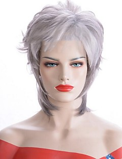 cheap New Arrivals-Costume Accessories Women's Straight Gray Side Part Synthetic Hair 33 inch Women Gray Wig Short Half Capless Grey