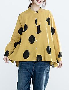 billige T-shirt-Kvinders asiatiske størrelse slank t-shirt - geometrisk / solid farvet rund hals