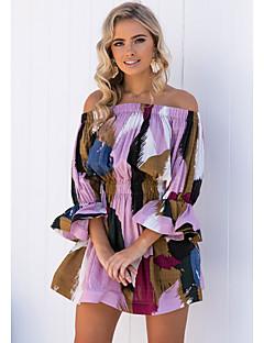 cheap Women's Dresses-Women's Daily Elegant Sheath Dress - Color Block Purple M L XL