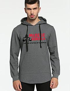 baratos Abrigos e Moletons Masculinos-hoodie de algodão de manga comprida masculina - geométrico com capuz cinza claro m