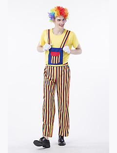 billige Halloween- og karnevalkostymer-Burlesk / Klovn Sirkus Party-kostyme Herre Voksne Artig & Underspillet Halloween Jul Halloween Karneval Festival / høytid Polyester Drakter Gul Stribe