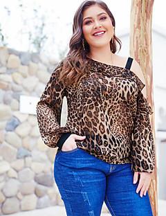 billige Bluse-kvinders asiatiske størrelse slank bluse - leopard / stripet off skulder