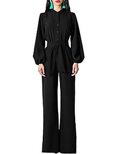 Χαμηλού Κόστους Γυναικείες μακριές και μίνι ολόσωμες φόρμες-Γυναικεία Καθημερινά Βασικό Θαλασσί Μαύρο Ρουμπίνι Φόρμες, Μονόχρωμο Κεντητό L XL XXL Μακρυμάνικο Φθινόπωρο