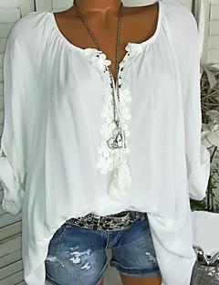 cheap Buyers' Collection-Women's Plus Size Blouse - Geometric Lace / Ruffle U Neck / Spring / Summer / Fall / Winter
