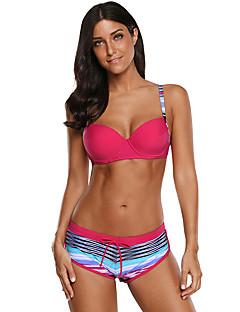 billige Bikinier og damemote-Dame Grunnleggende Fuksia Cheeky Bikini Badetøy - Stripet L XL XXL