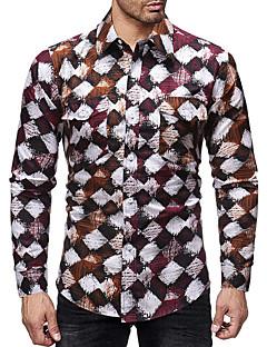 رخيصةأون قمصان رجالي-رجالي قميص طباعة هندسي
