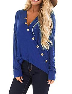 Χαμηλού Κόστους Γυναικείες Μπλούζες-Γυναικεία Πουκάμισο Μονόχρωμο Λαιμόκοψη  V e9a51367b45