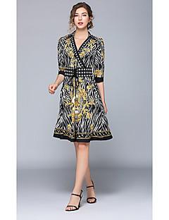 e331930fc56b Γραμμή Α Λαιμόκοψη V Μέχρι το γόνατο Ζέρσεϊ Φόρεμα με Σχέδιο   Στάμπα με LAN  TING Express