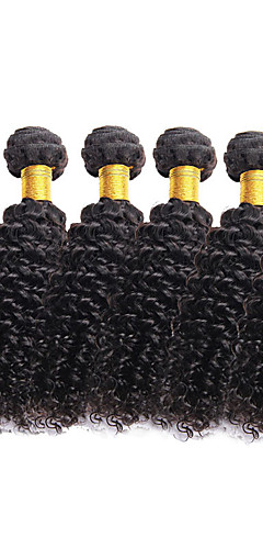 cheap -6 Bundles Brazilian Hair Curly 10A Virgin Human Hair Natural Color Hair Weaves / Hair Bulk 8-26 inch Natural Black Human Hair Weaves Human Hair Extensions